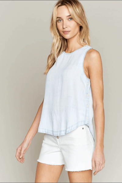 No Ifs, Ands, or Buttons Chambray Tank
