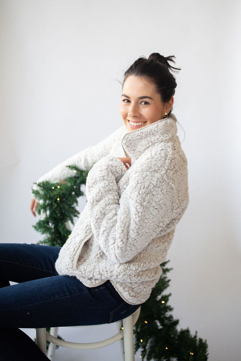Fluff Around the Edges Pullover Half-Zip