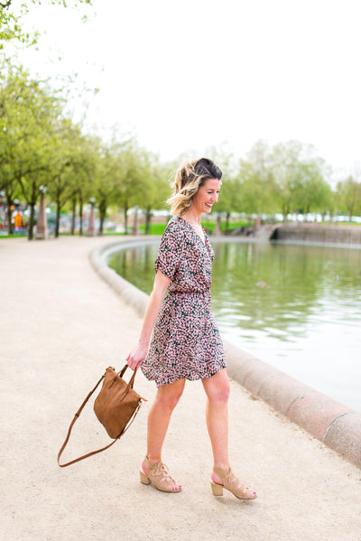 Bed of Roses Floral Wrap Dress