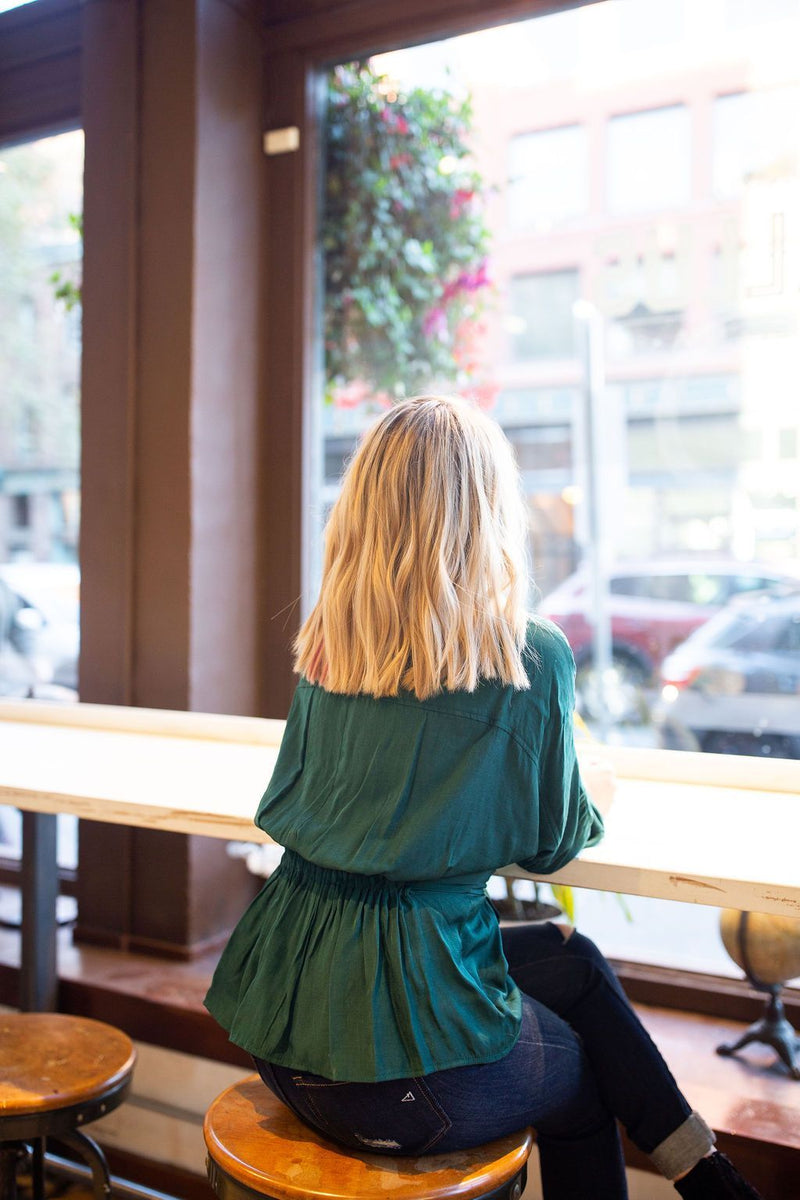 Green with Envy Tie-Waist Blouse