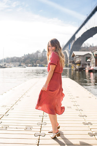 Go With the Flamenco Textured Midi Dress