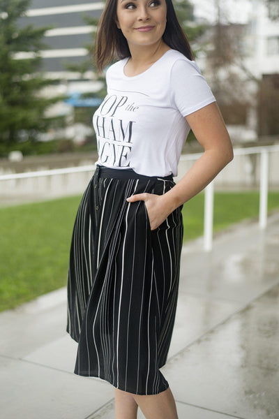 Rock My Twirled Striped Midi Skirt