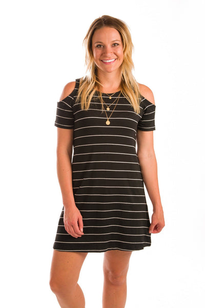 Meet Me In Paris Striped Cold Shoulder Dress