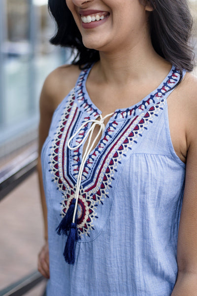 Tied Up in String Embroidered Tank