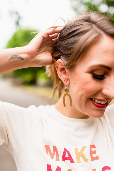 Ahead of the Curve Brass Dangle Earrings