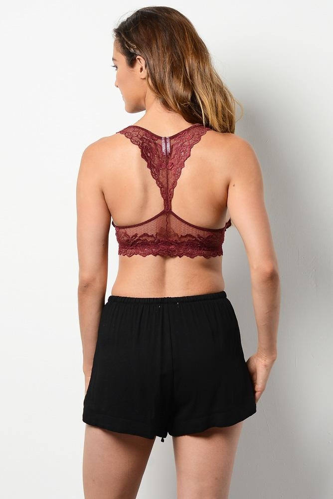 Right Time Right Lace Bralette in Burgundy