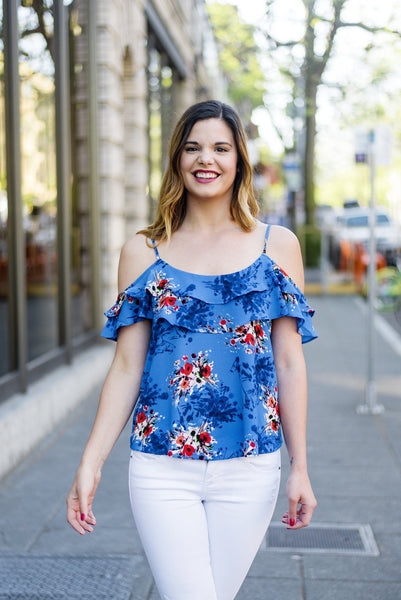 Off and On Floral Ruffle Tank