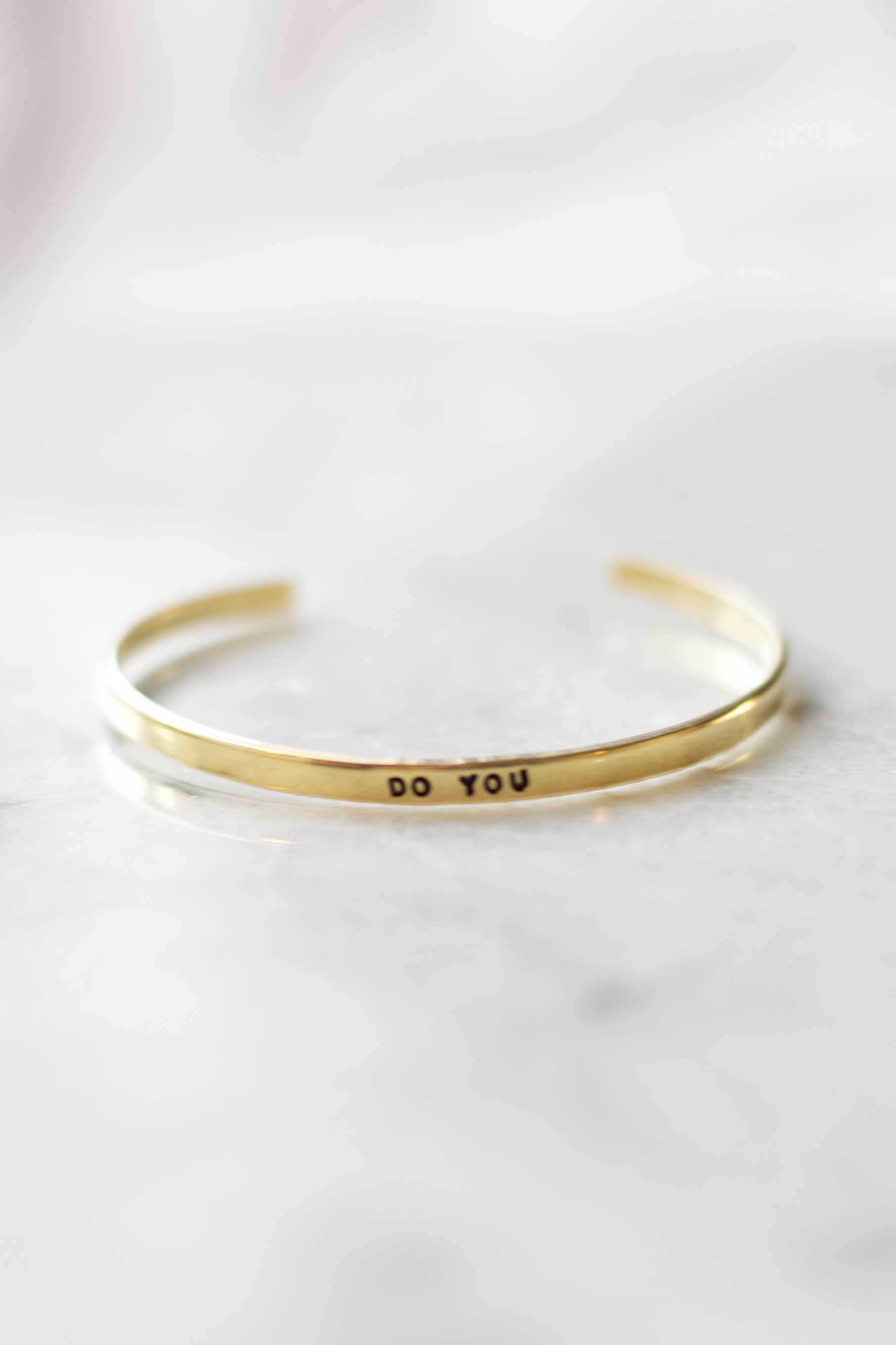 """Do You"" Brass Bangle Bracelet"