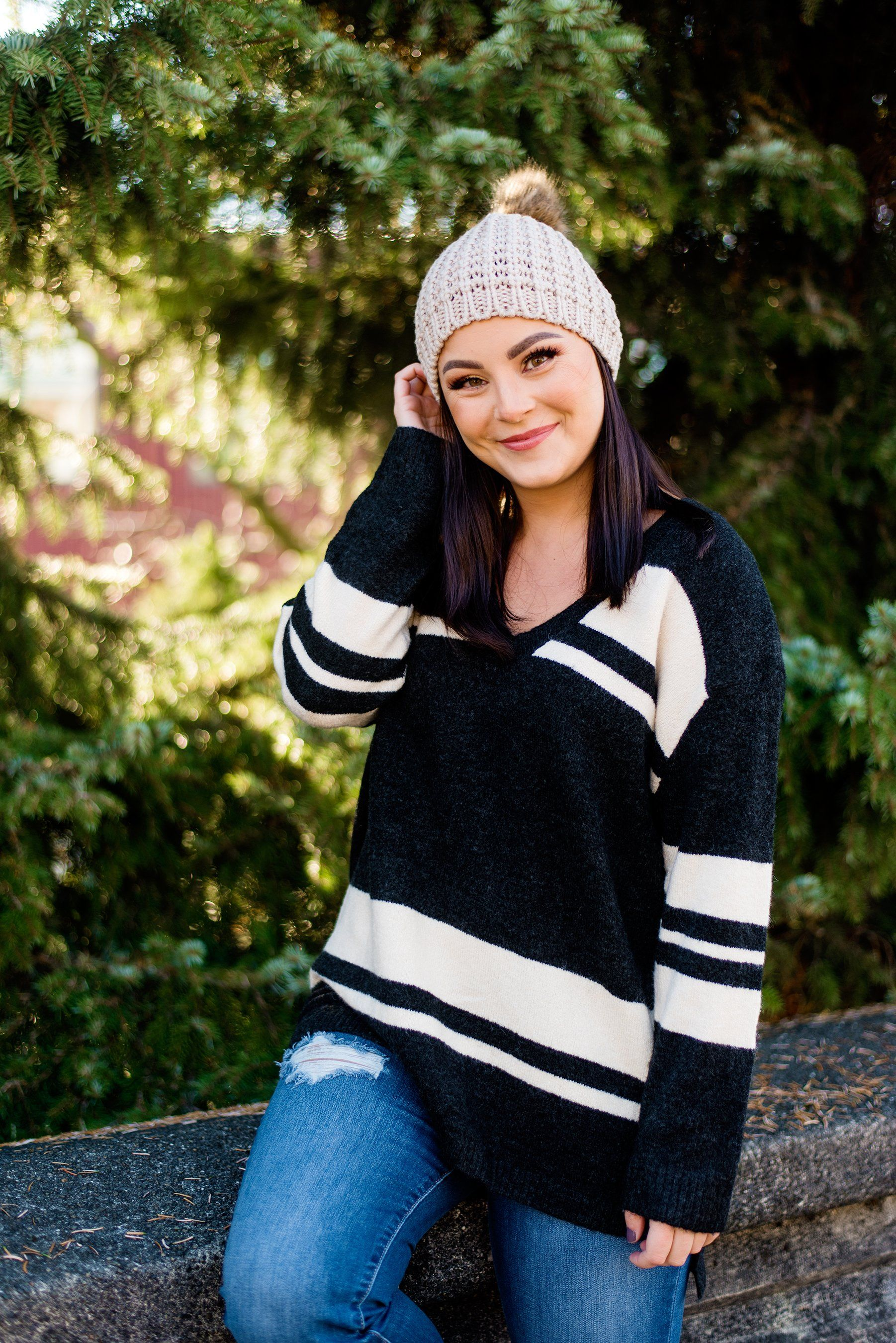 Panda-monium Striped V-neck Sweater