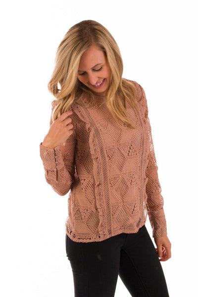 Coming Up Roses Lace Ruffle Blouse