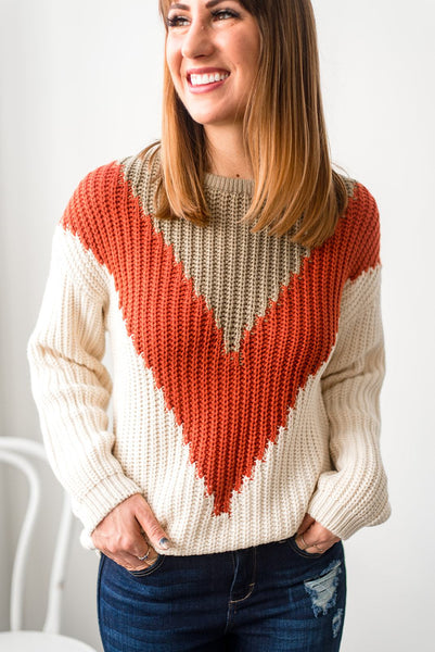 Get to the Point Chevron Sweater