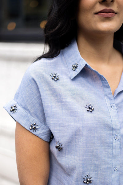 Bling It On Cropped Button-Up Shirt