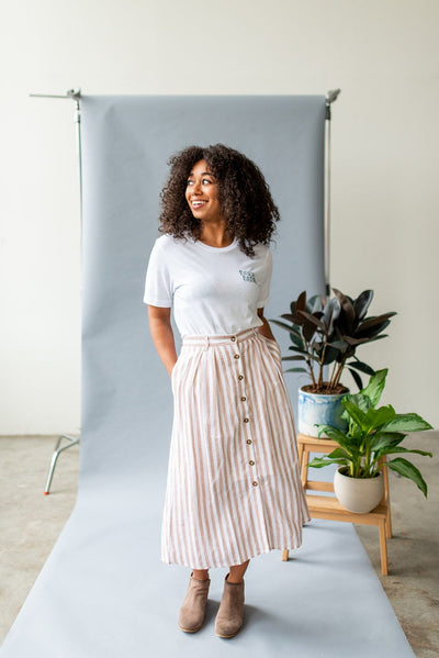Skirt the Issue Button Midi Skirt
