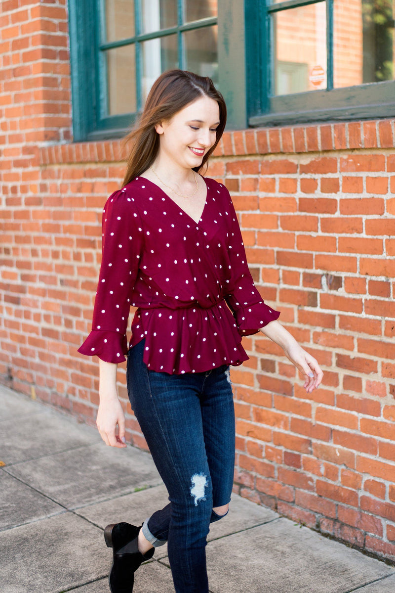 Too Dot to Handle Peplum Blouse
