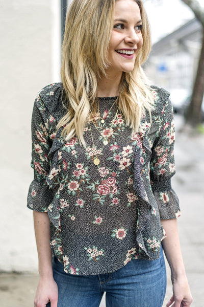 Ruffle Some Feathers Floral Blouse
