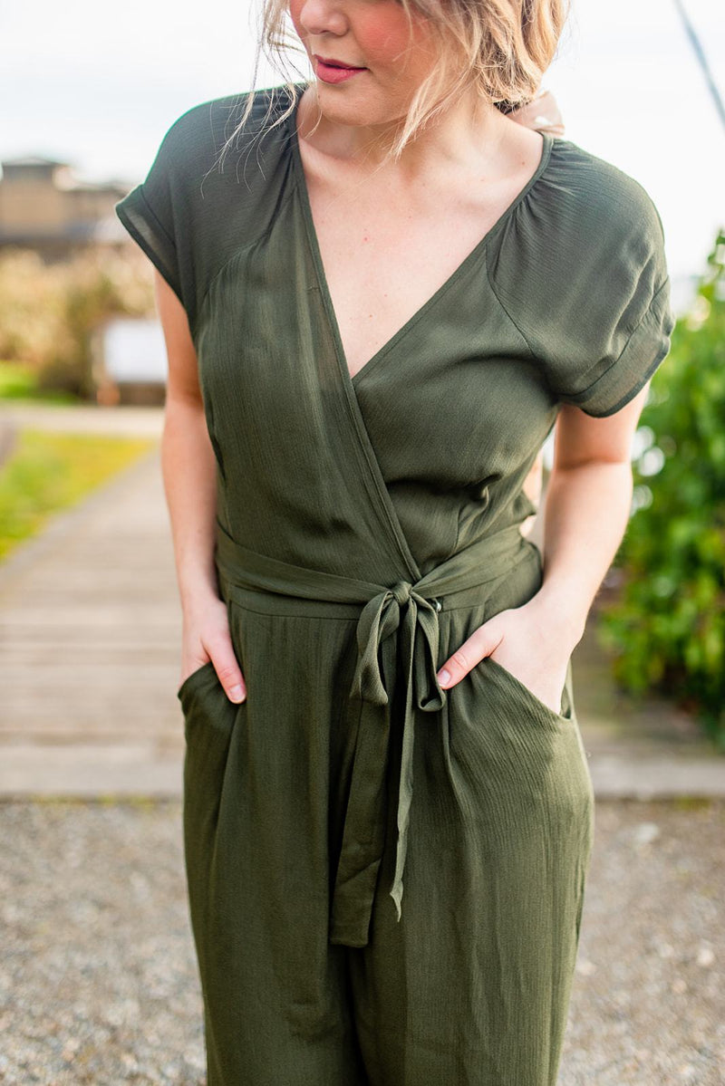 Olive It Up Tie-Waist Jumpsuit