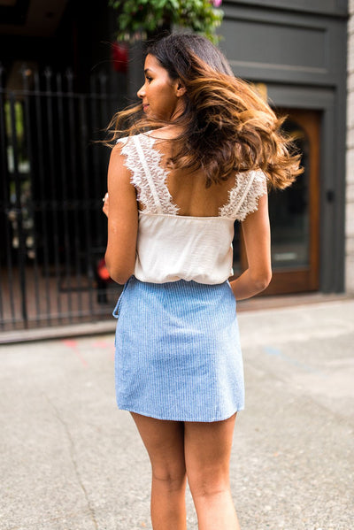 Chambray of Sunshine Wrap Mini Skirt