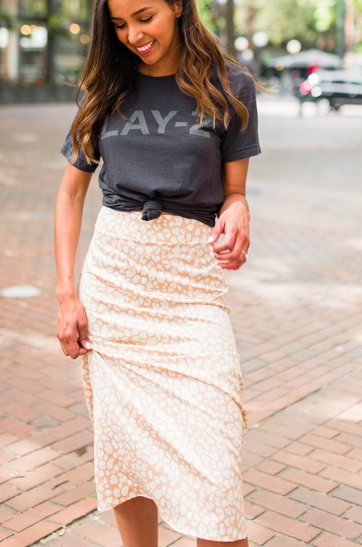 Wild Thing Satin Leopard Print Midi Skirt