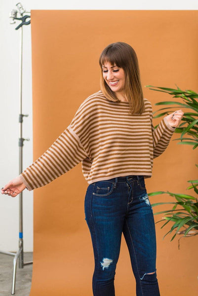 Brown-Dyed Girl Cropped Striped Sweater