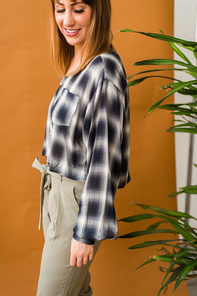 Stop, Crop and Roll Plaid Button-Up
