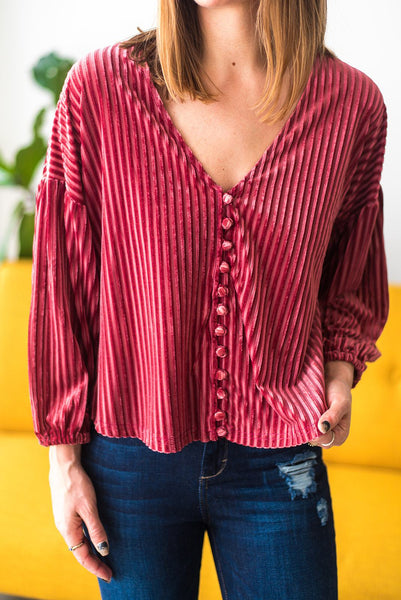 Kissed By a Rose Ribbed Velvet Blouse