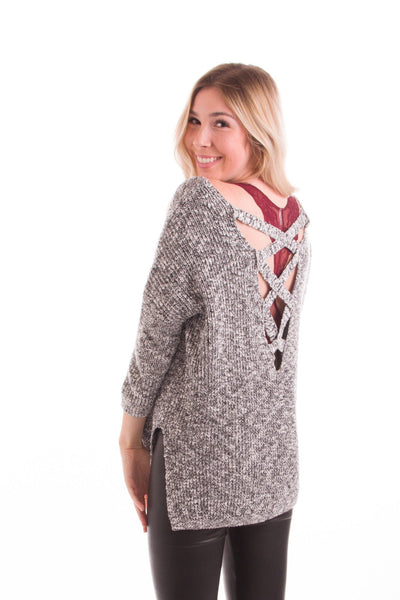 Goodness Greycious Cross Back Sweater