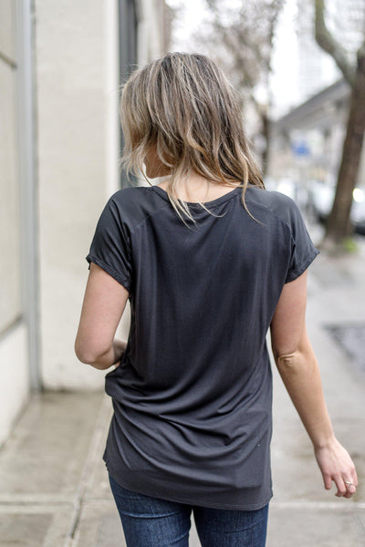 In Love With a Zipper V-neck Tee