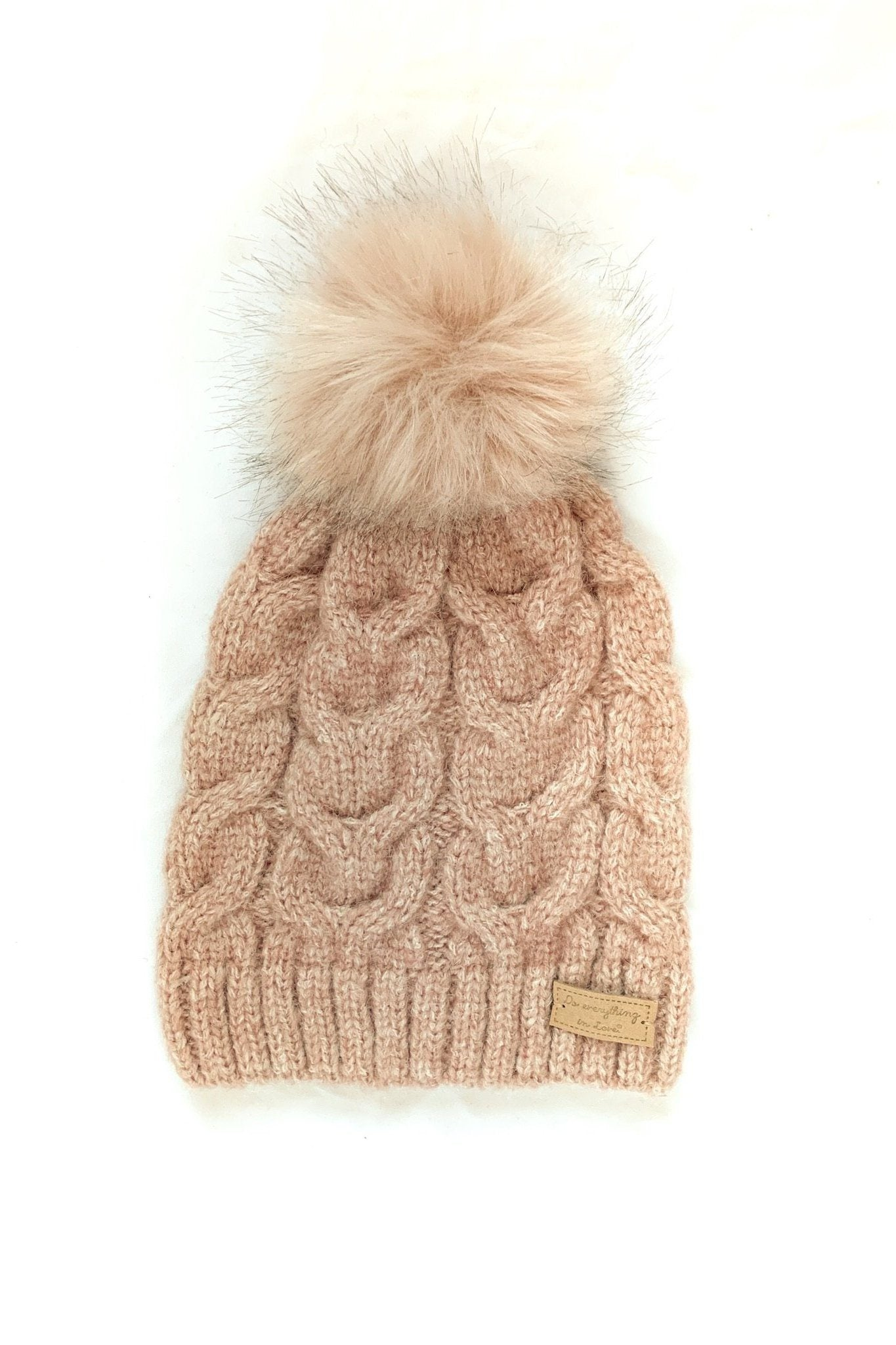 Keep Pom and Carry On Cable Knit Beanie