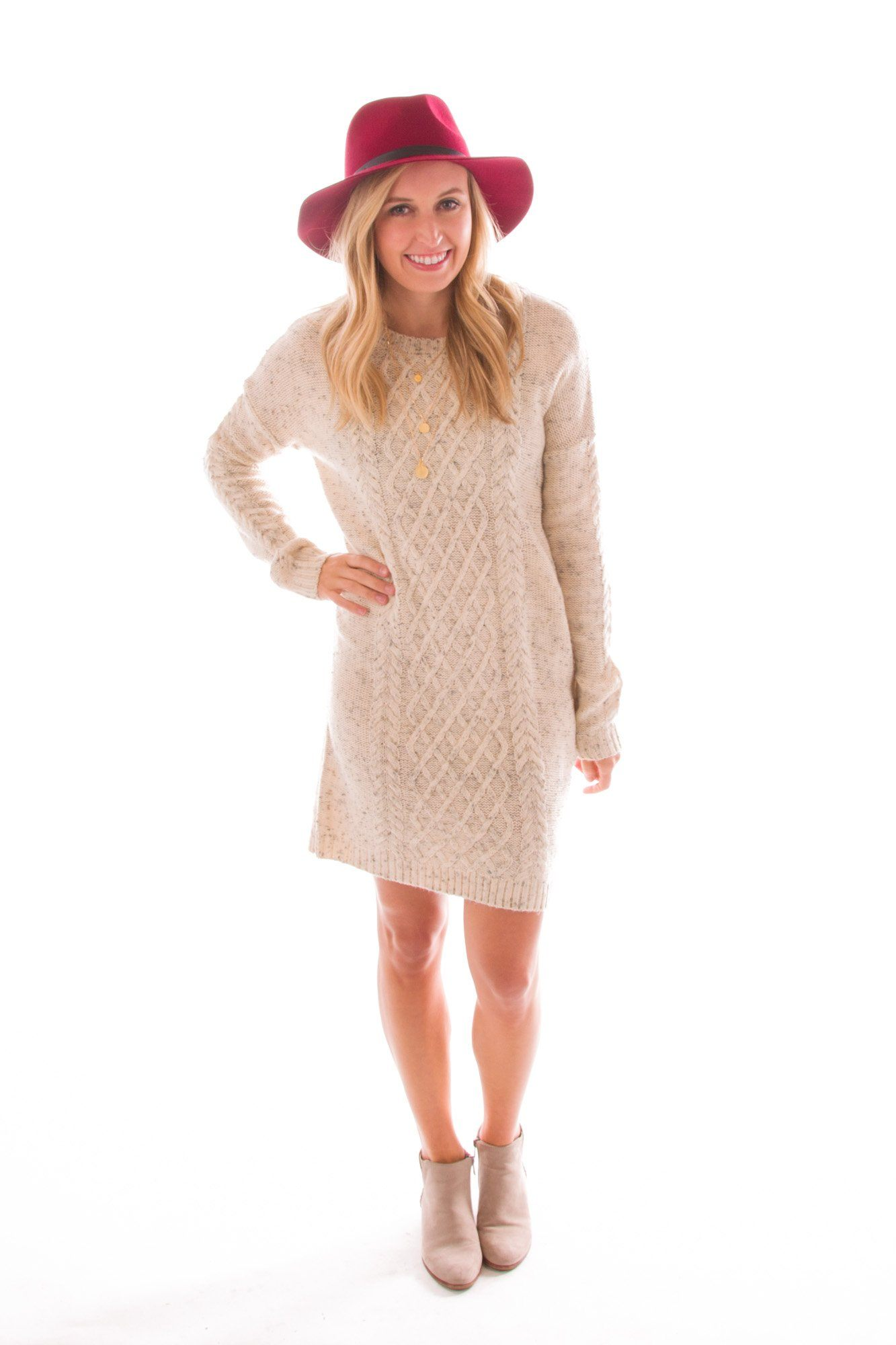 The Snug Life Cable Knit Sweater Dress