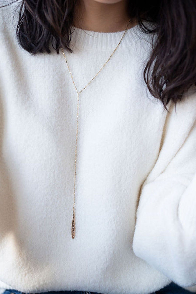 """Y"" Not Gold Lariat Necklace"