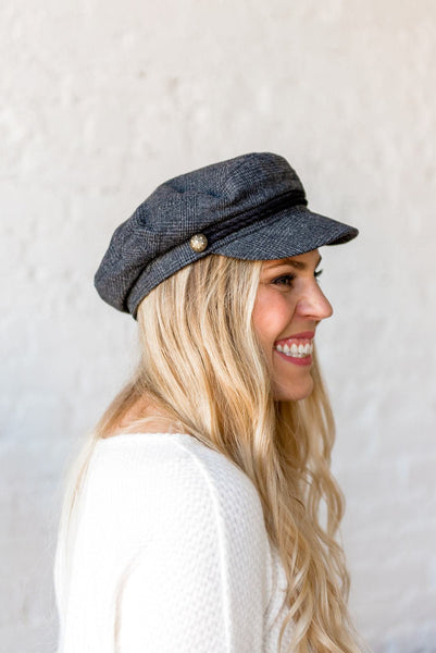 Bust a Cap Newsboy Hat in Grey Plaid