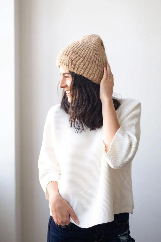 Cap it Off Ribbed Beanie in Camel