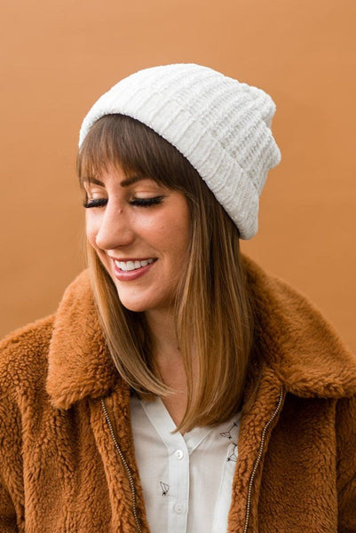 Accessorize and Shine Chenille Beanie in Ivory