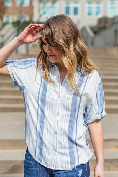 Serious Business Striped Button-Up Shirt