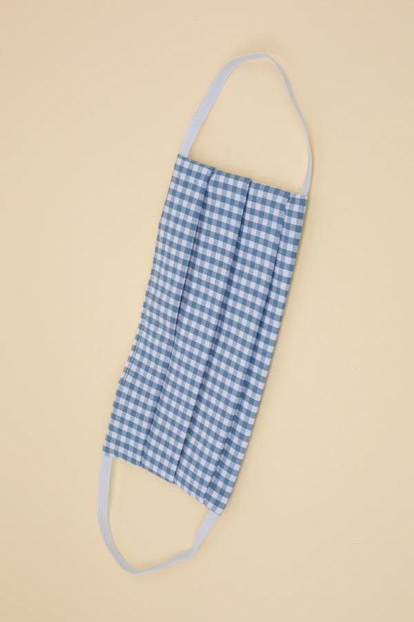 Play It Safe Cotton Mask in Blue Gingham