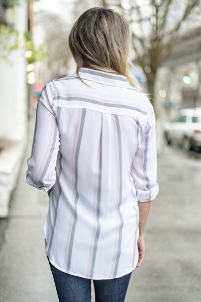 Pastel Me About It Button-Up Blouse