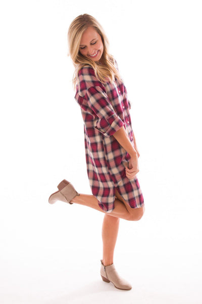 Talk Shirty To Me Plaid Shirtdress