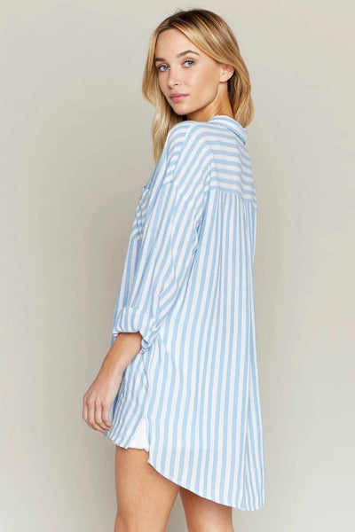 Change Your Tunic Striped Button-Up