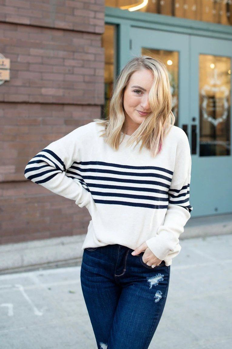 Knit & Caboodle Striped Thermal Sweater