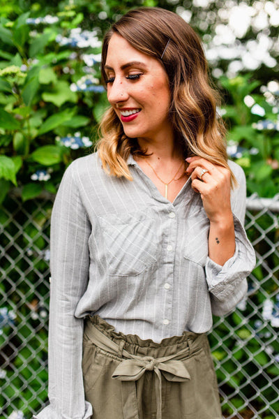 Eat, Grey, Love Striped Button-Up