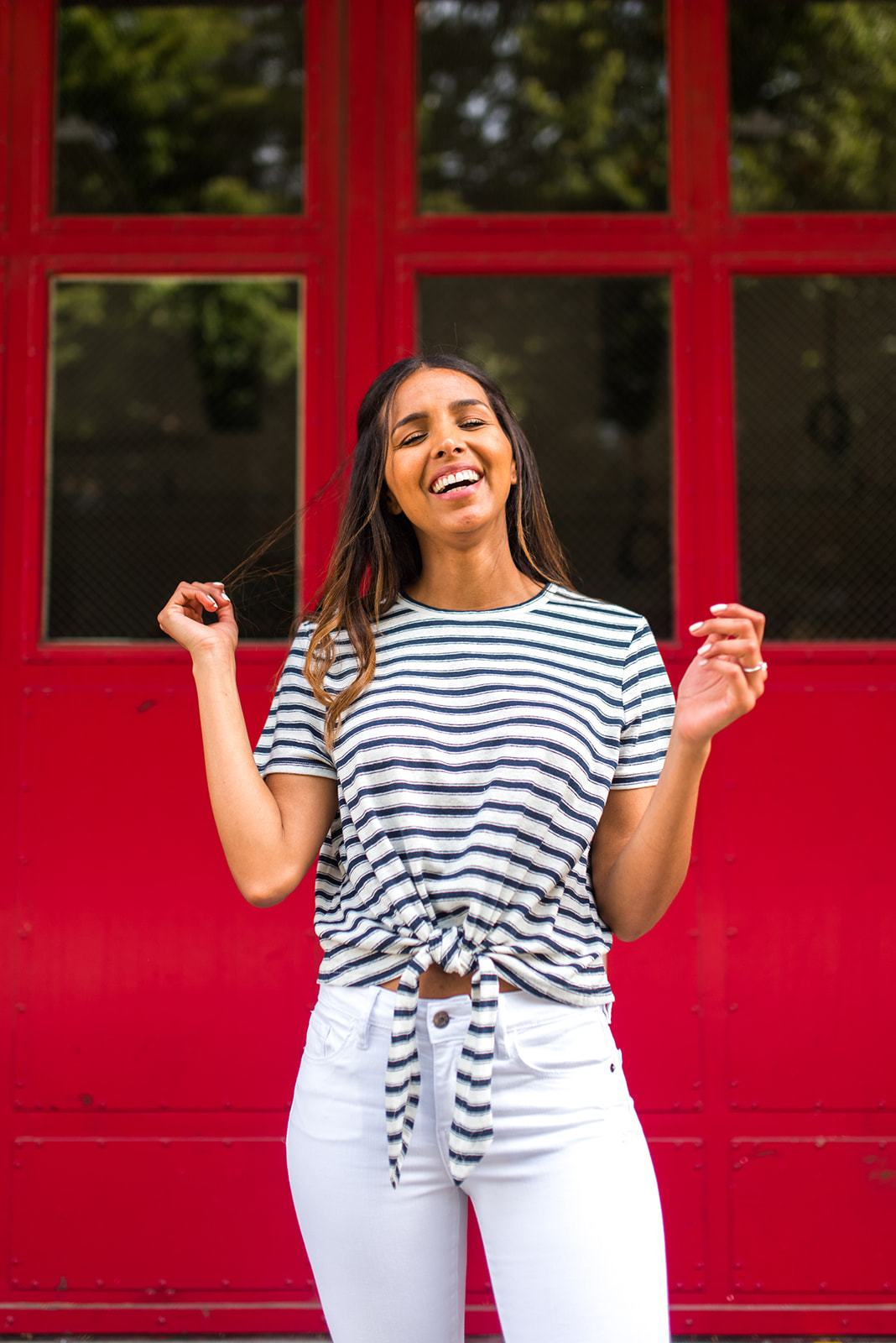 Ready or Nautical Tie Waist Striped Tee