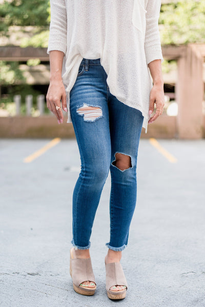 In the Jeans Distressed Skinnies in Medium Wash