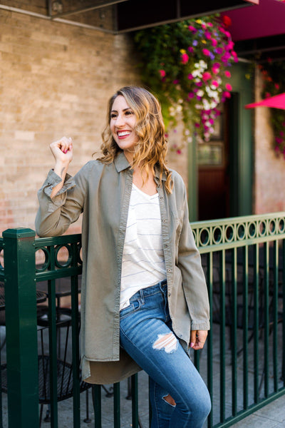 The Khaki to my Heart Button-Up Tunic