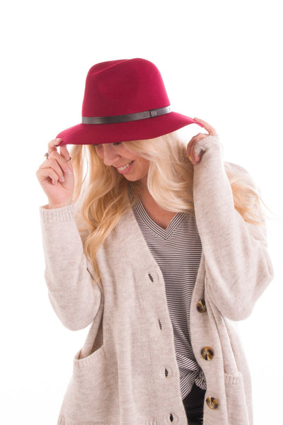 Top It Off Wool Felt Hat in Crimson