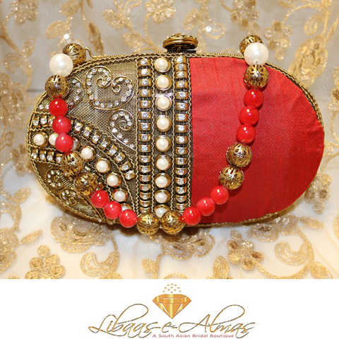pearl beaded clutch bag