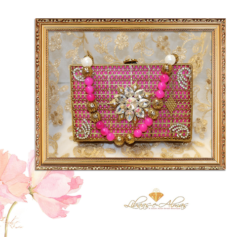 pink beaded clutch bag