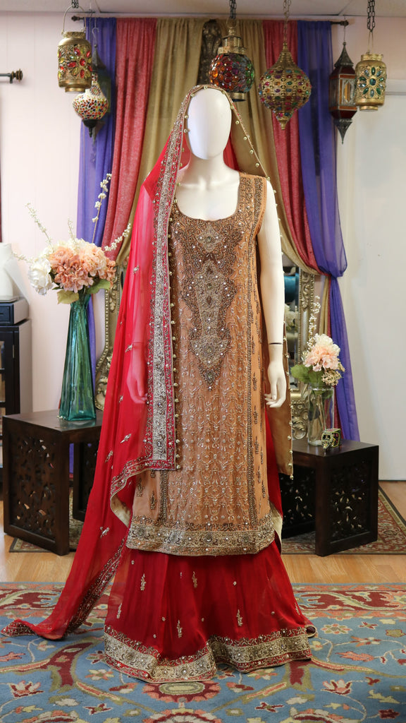 Rusty Copper and Red Bridal Lengha