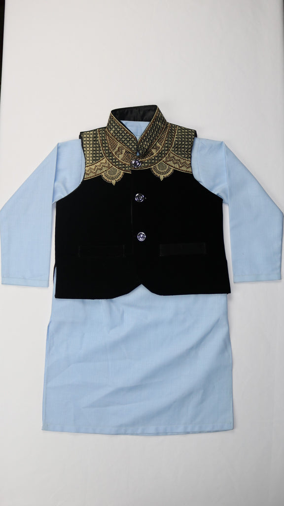 Light Blue Shalwar Kameez and Black Vest
