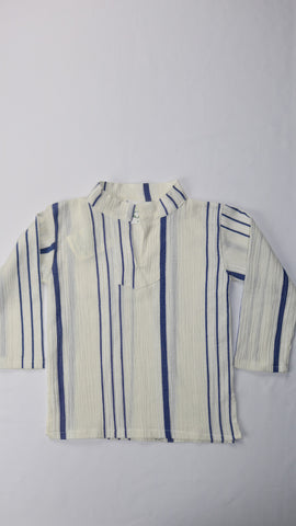 White Cotton Striped Kurta