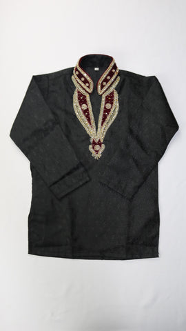 Black Kurta with Gold Collar